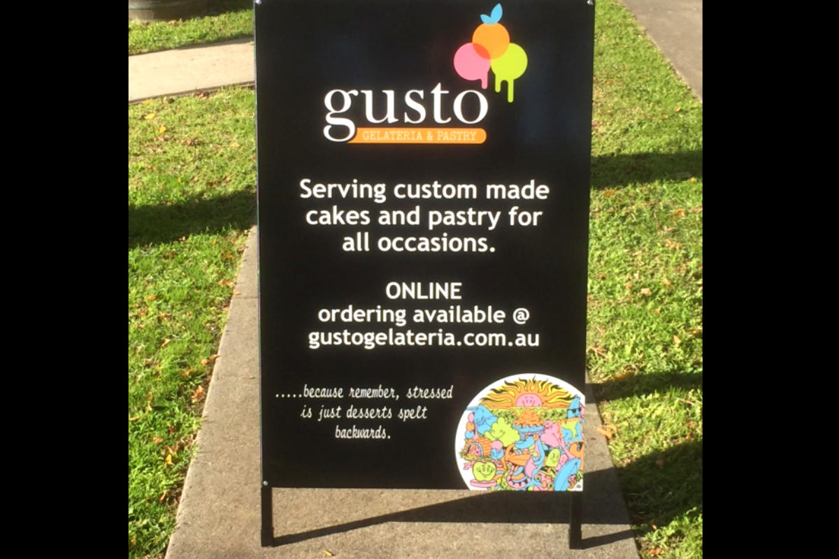 Gusto Gelateria A Board Sign by Signspec Signs