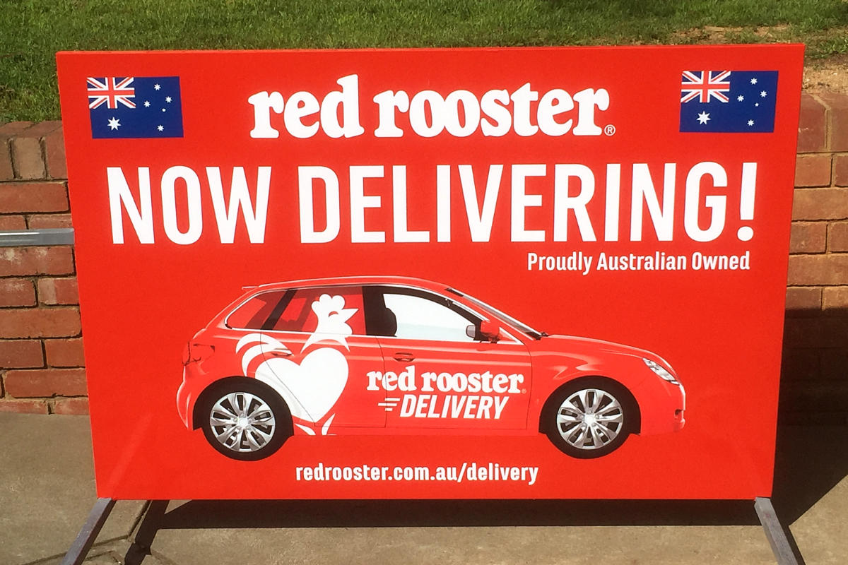 Home Delivery Chicken A Board Sign by Signspec Signs