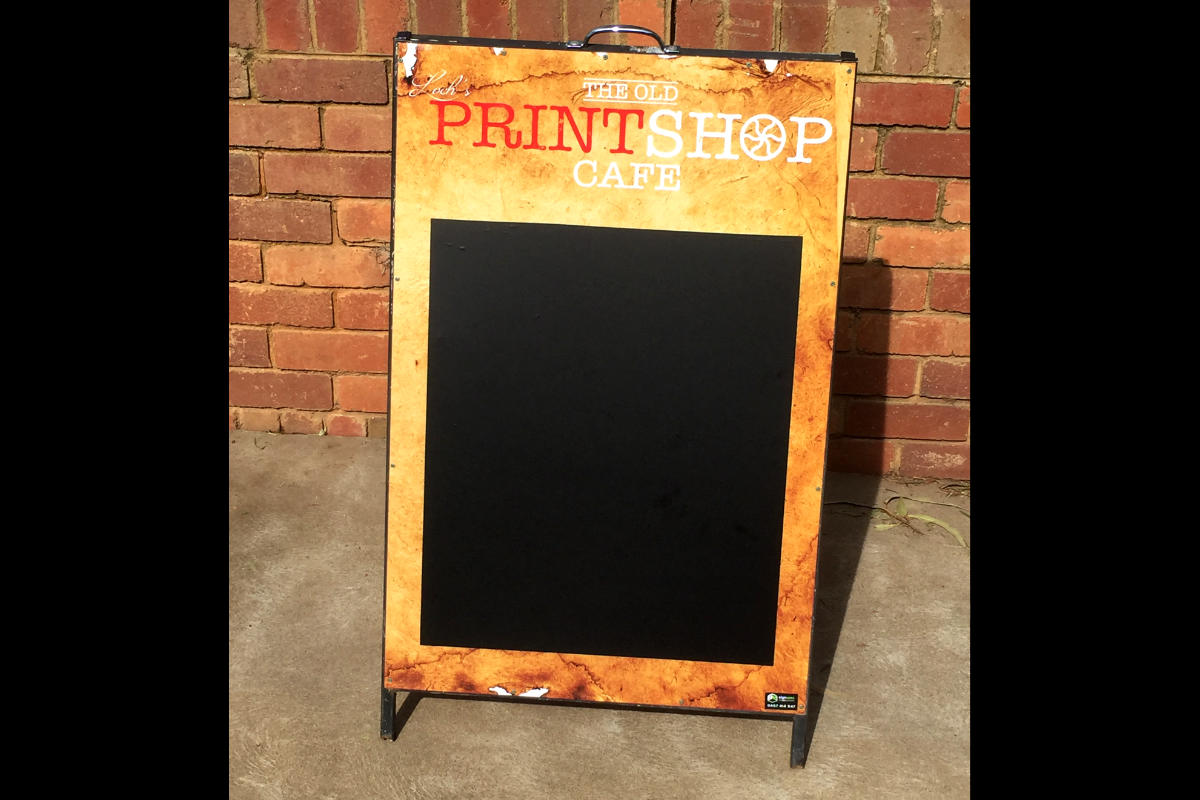 Print Shop Cafe A Board Sign by Signspec Signs