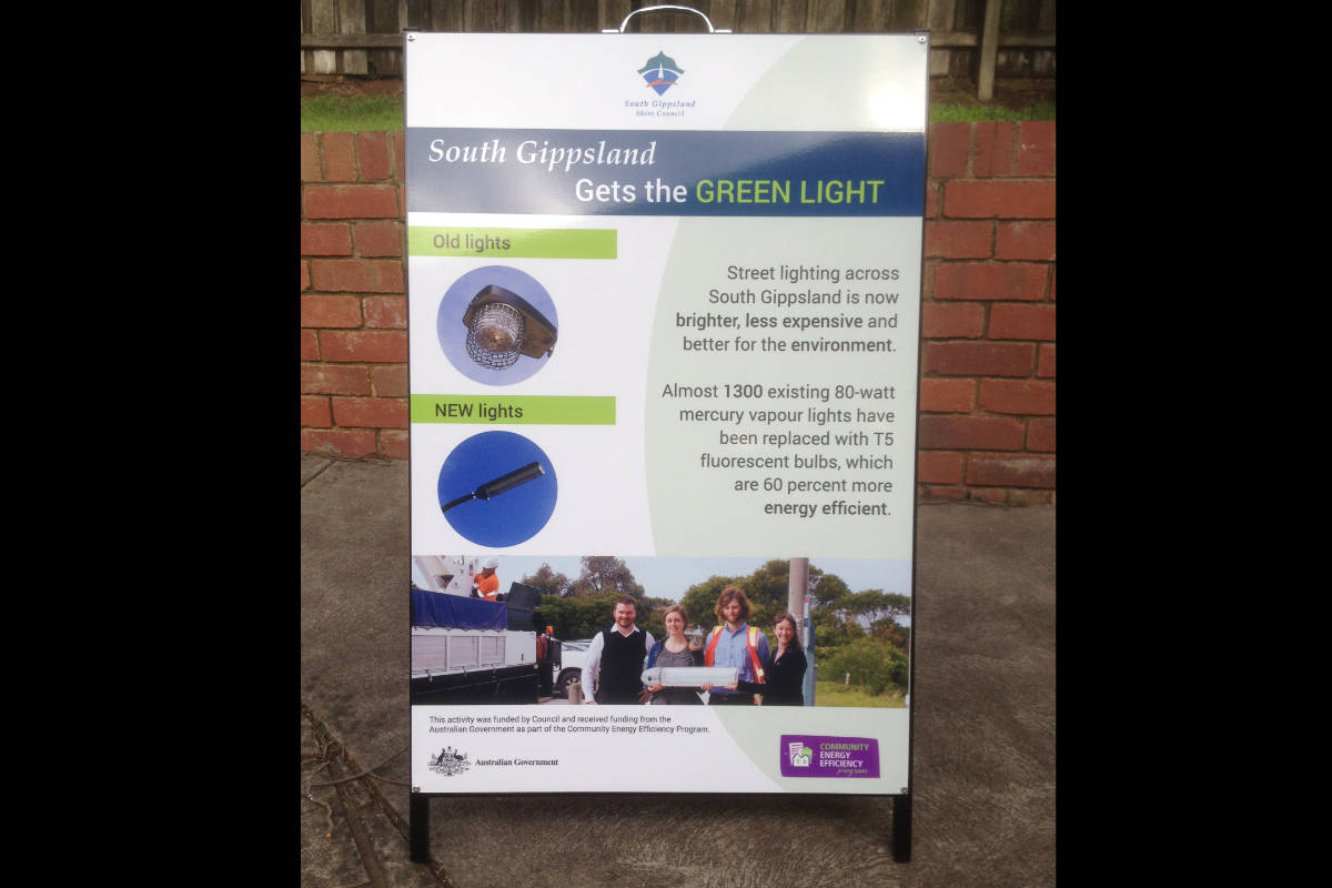 South Gippsland Green Lighting A Board