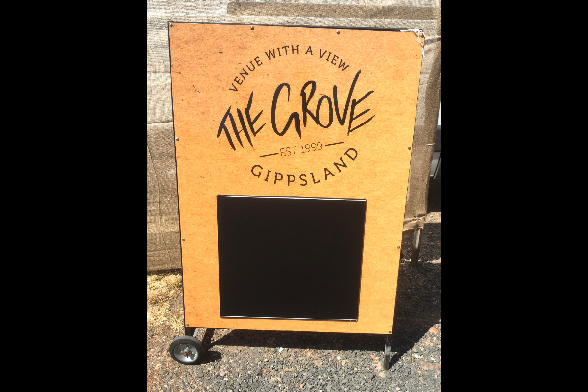 The Grove Gippsland A-Board sign by Signspec