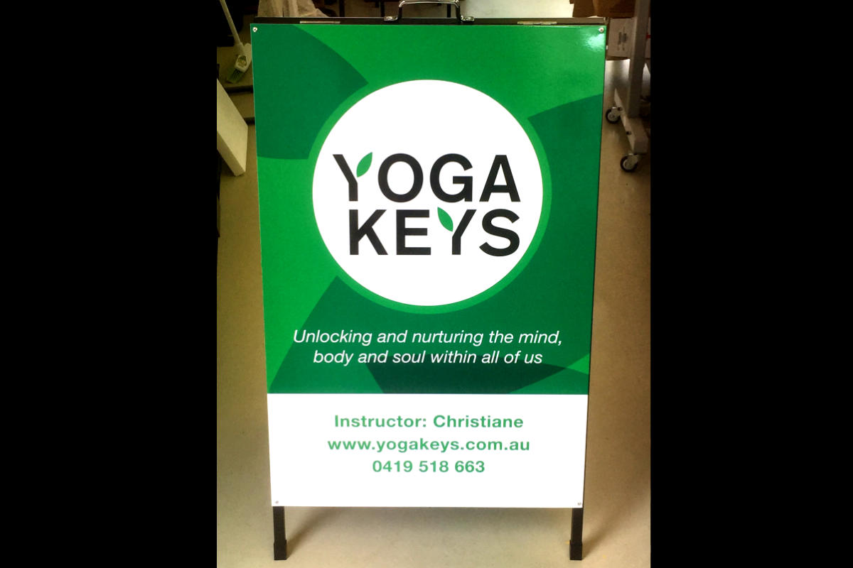 Yoga Keys A Board Sign by Signspec Signs