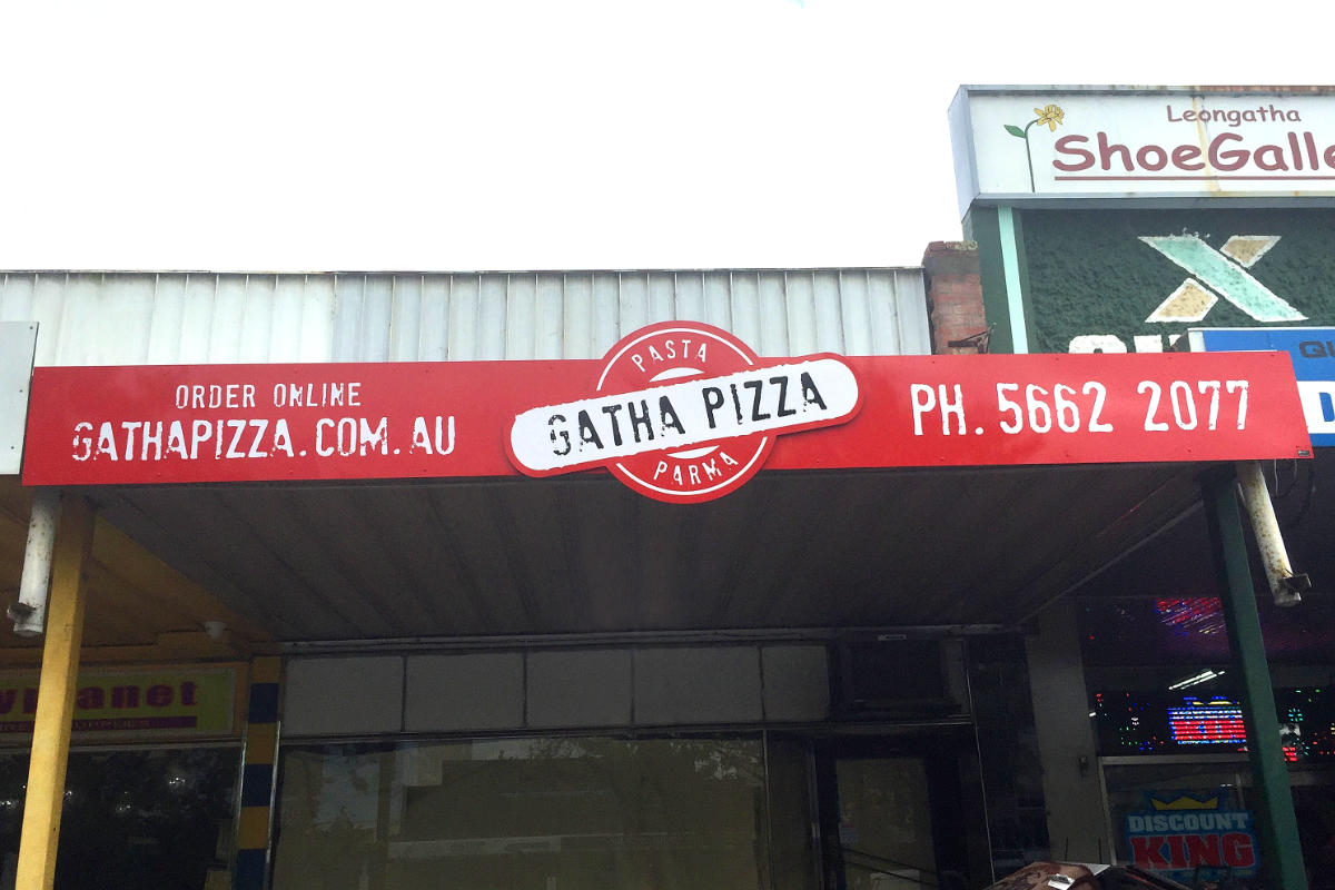 Bright building sign for Leongatha Pizza parlour