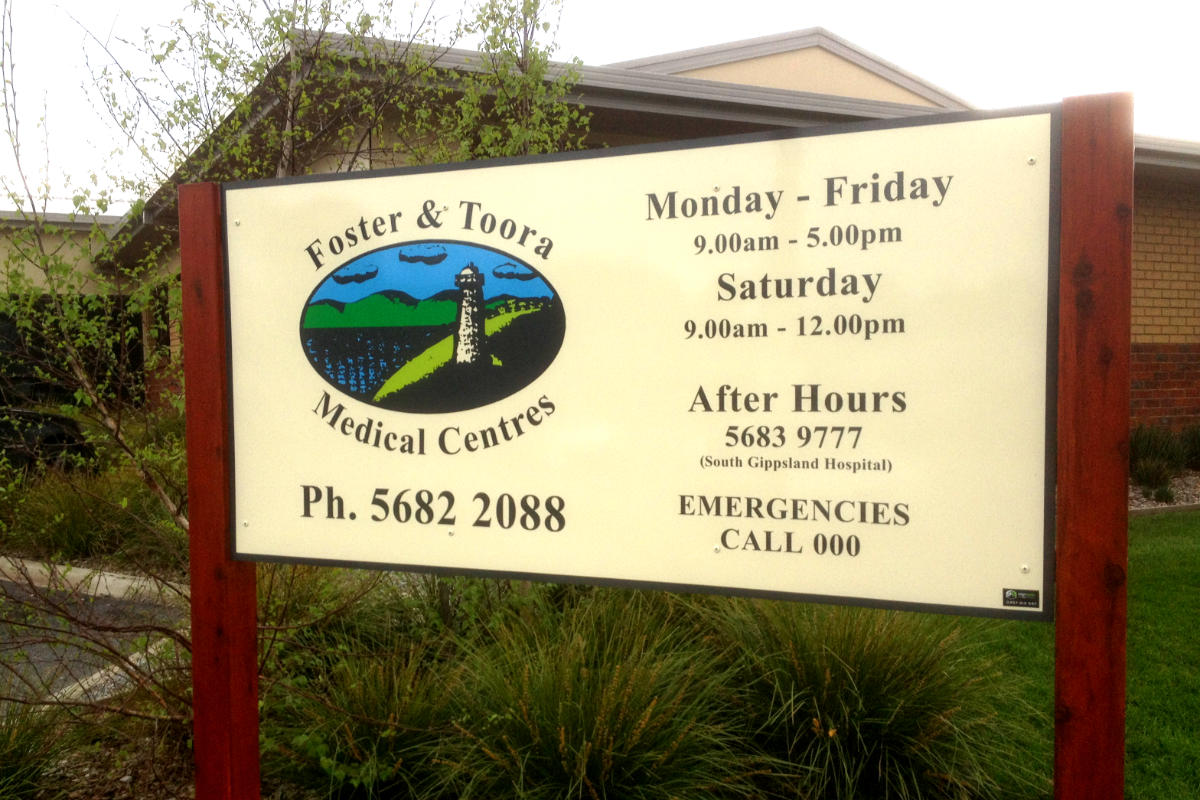 Building sign for Foster and Toora Medical Centres