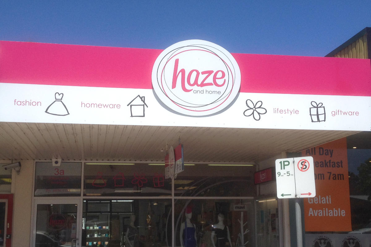 Building sign for Haze and Home gift shop 1