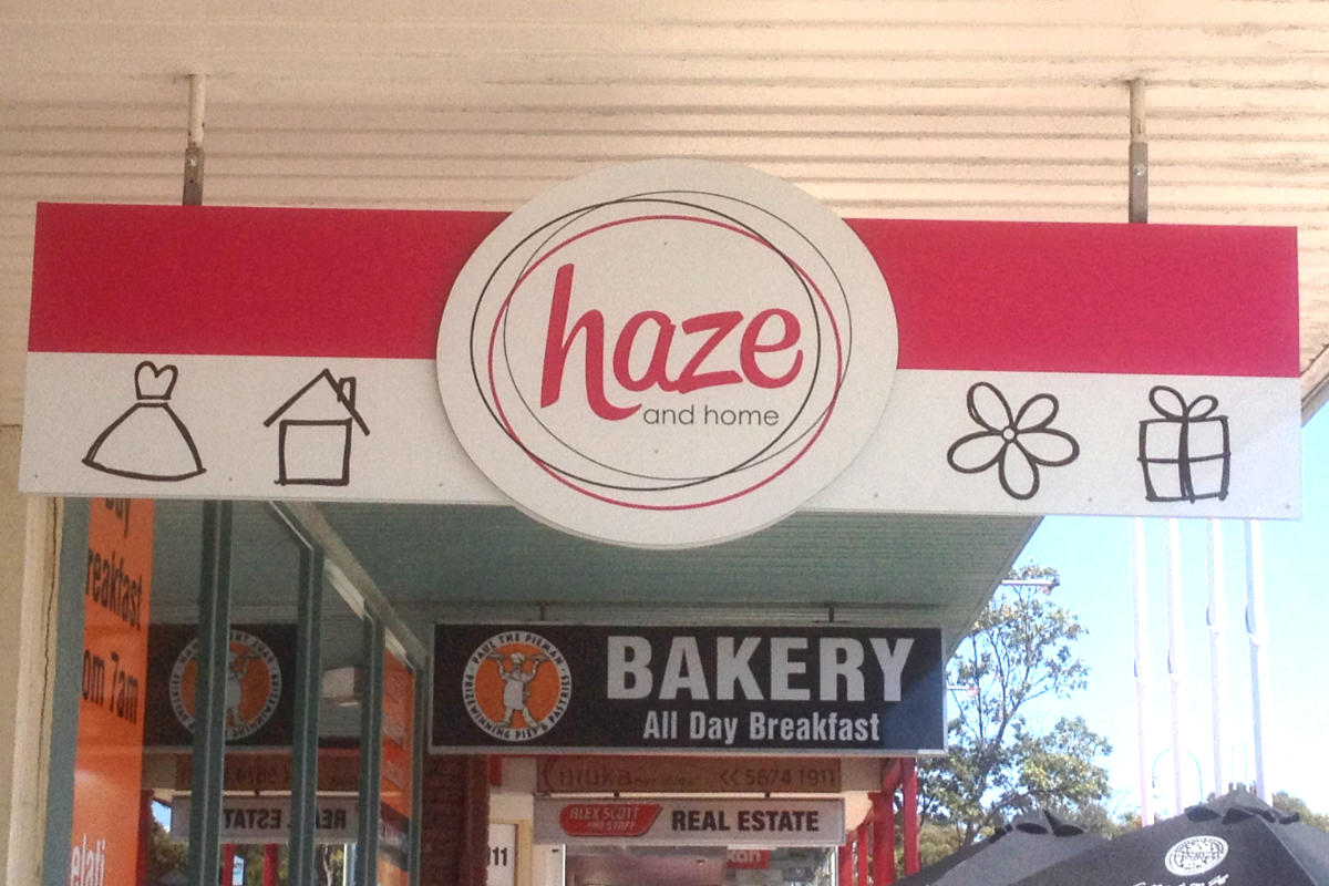Building sign for Haze and Home gift shop 2