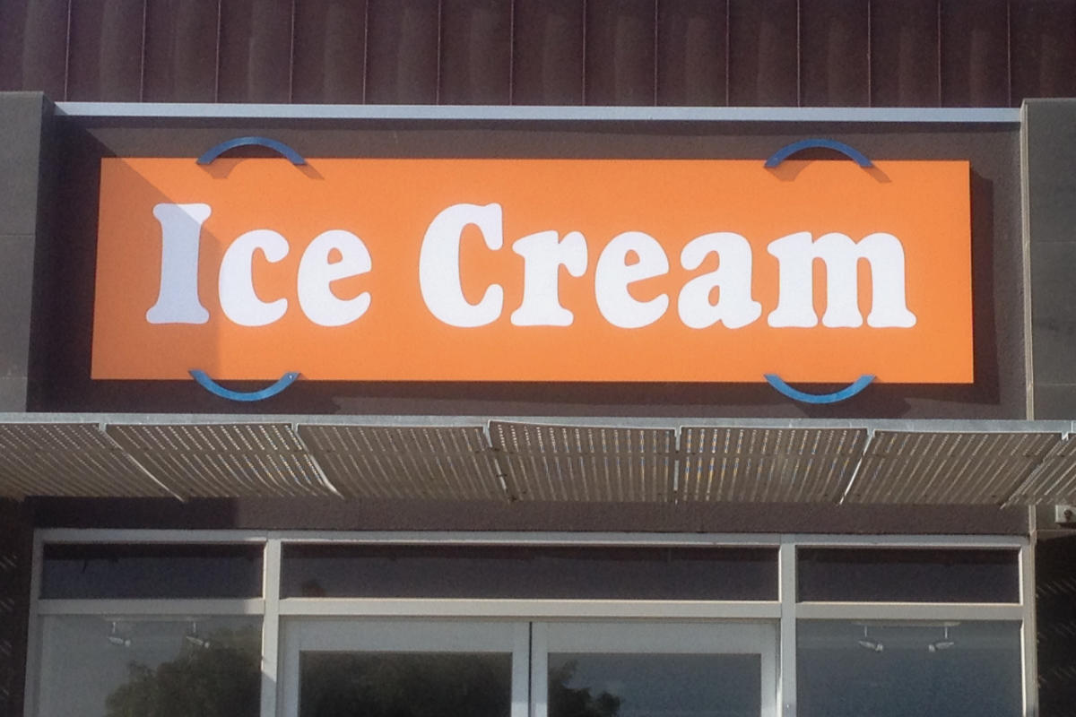 Ice Cream shop building sign