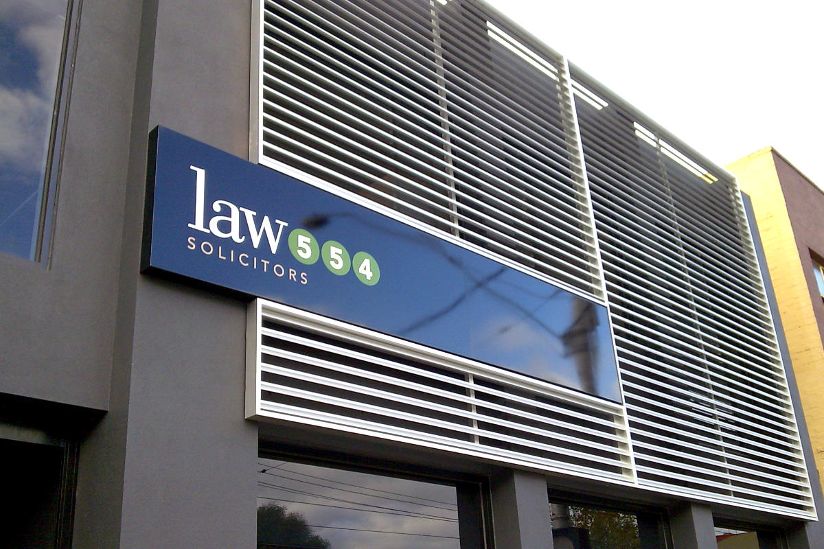 Fabricated building signage for Law Solicitors