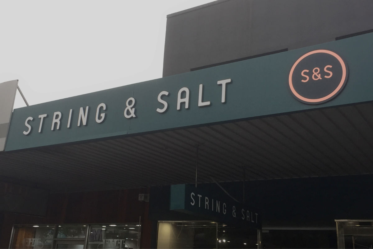 String and Salt building sign by Signspec Signs