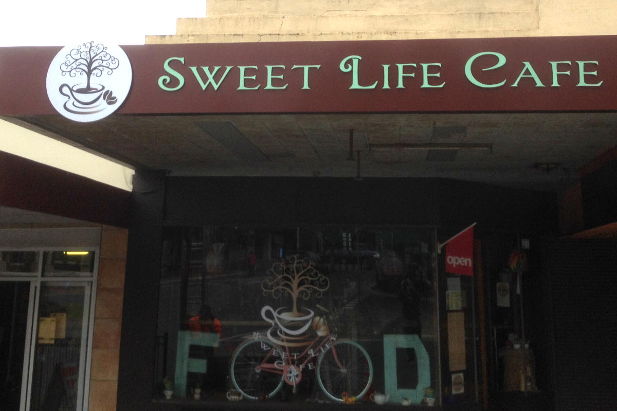 Sweet Life Cafe building sign, Leongatha