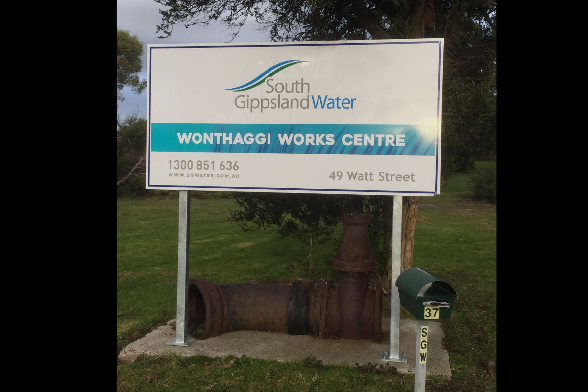 Wonthaggi water sign with galvanised frame and posts