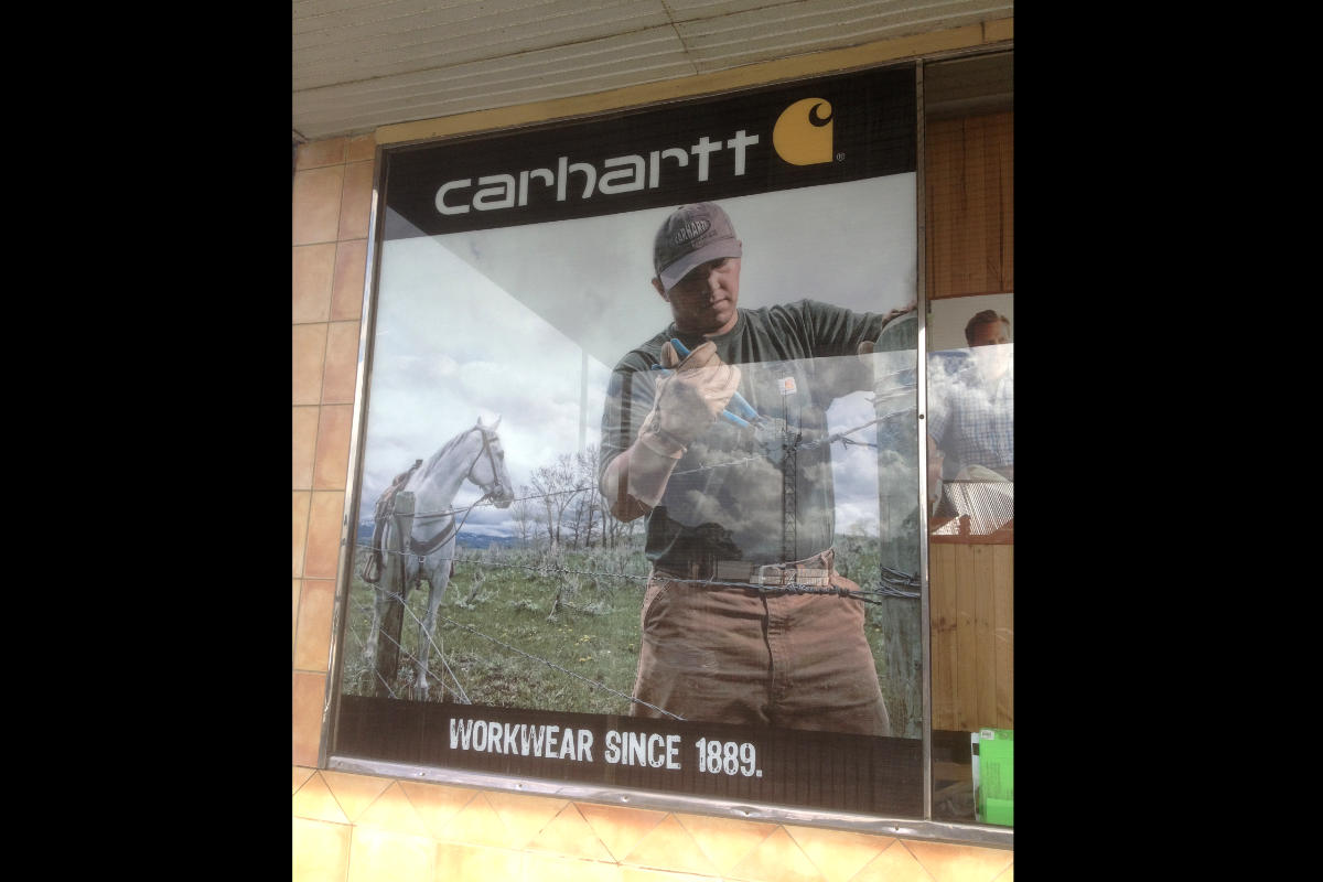 Digitally printed sign for Carhartt workwear