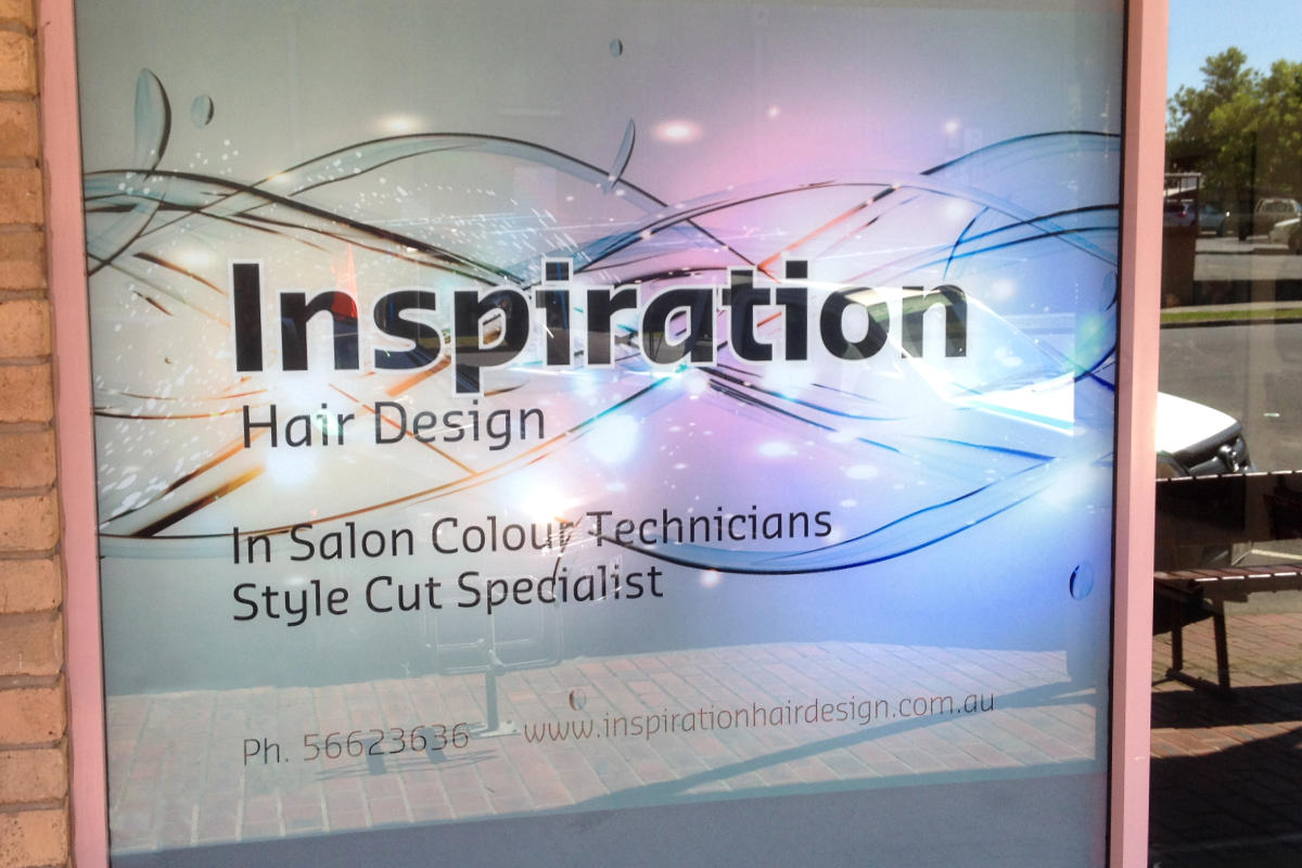 Digitally printed sign for Inspiration Hair Design