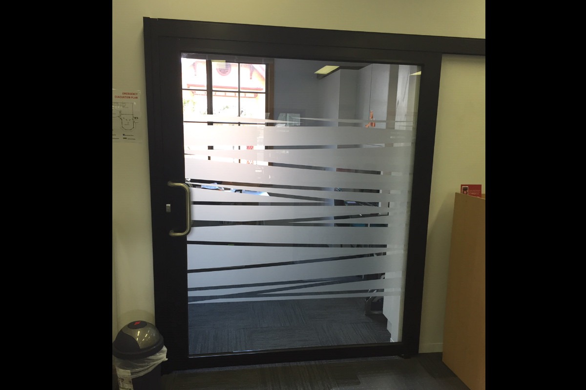 Interior sliding glass door frosted effect by Signspec Signs