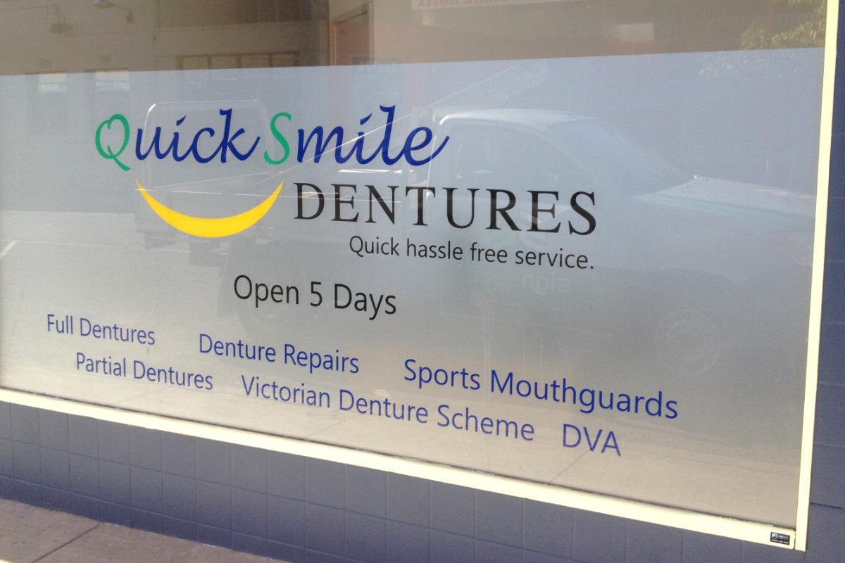 Denture business window frosting
