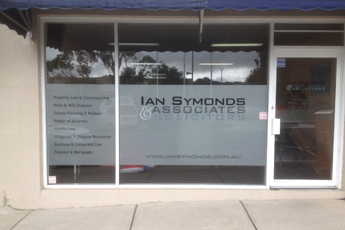 Frosted glass for Ian Symonds solicitors