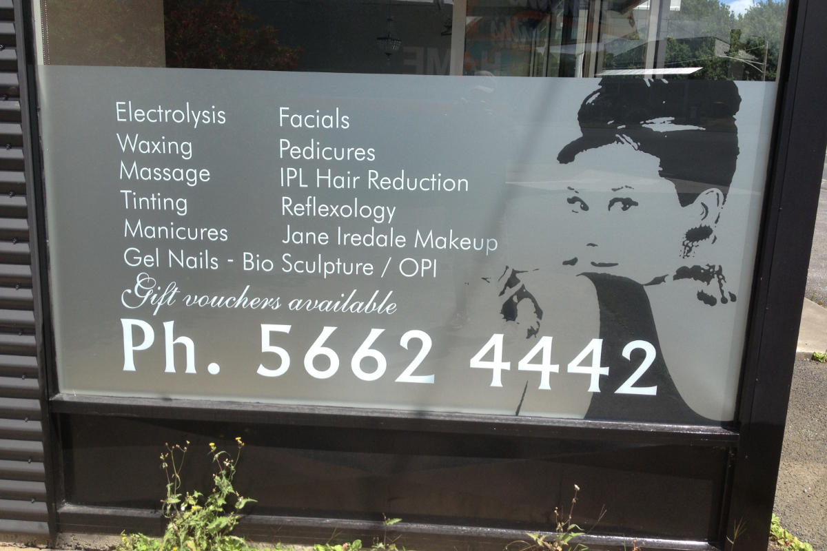 Window frosting for a beauty salon