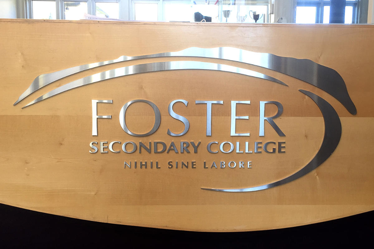 Foster school reception sign