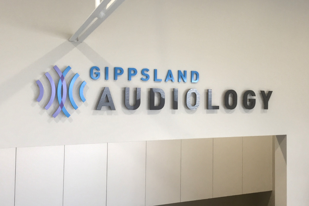 Gippsland Audiology clinic reception sign by Signspec