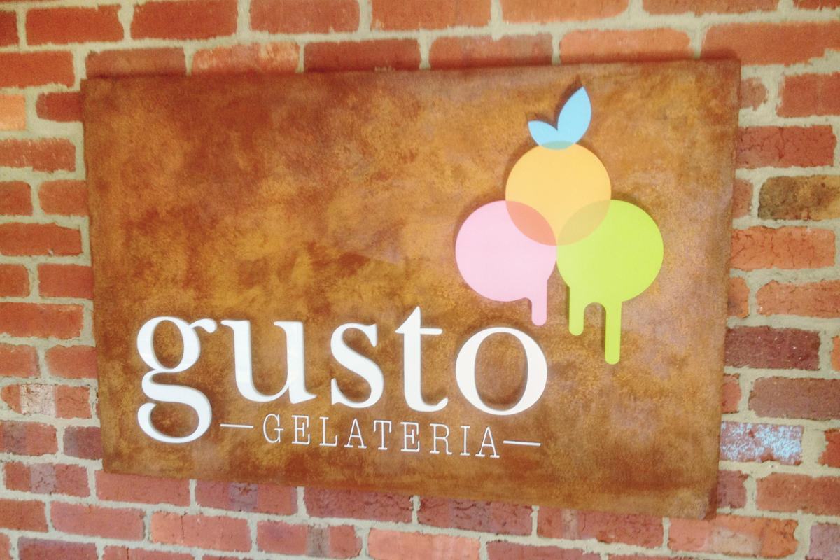 Reception Sign for Gusto Gelateria, Inverloch