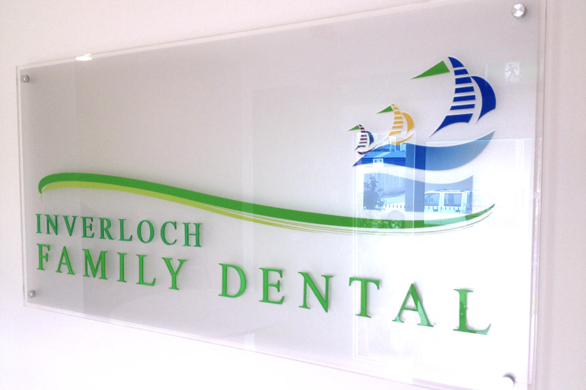 Glass Reception Sign at dental surgery in Inverloch
