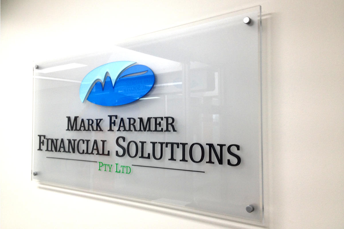 Glass Reception Sign for Financial Solutions provider in Wonthaggi