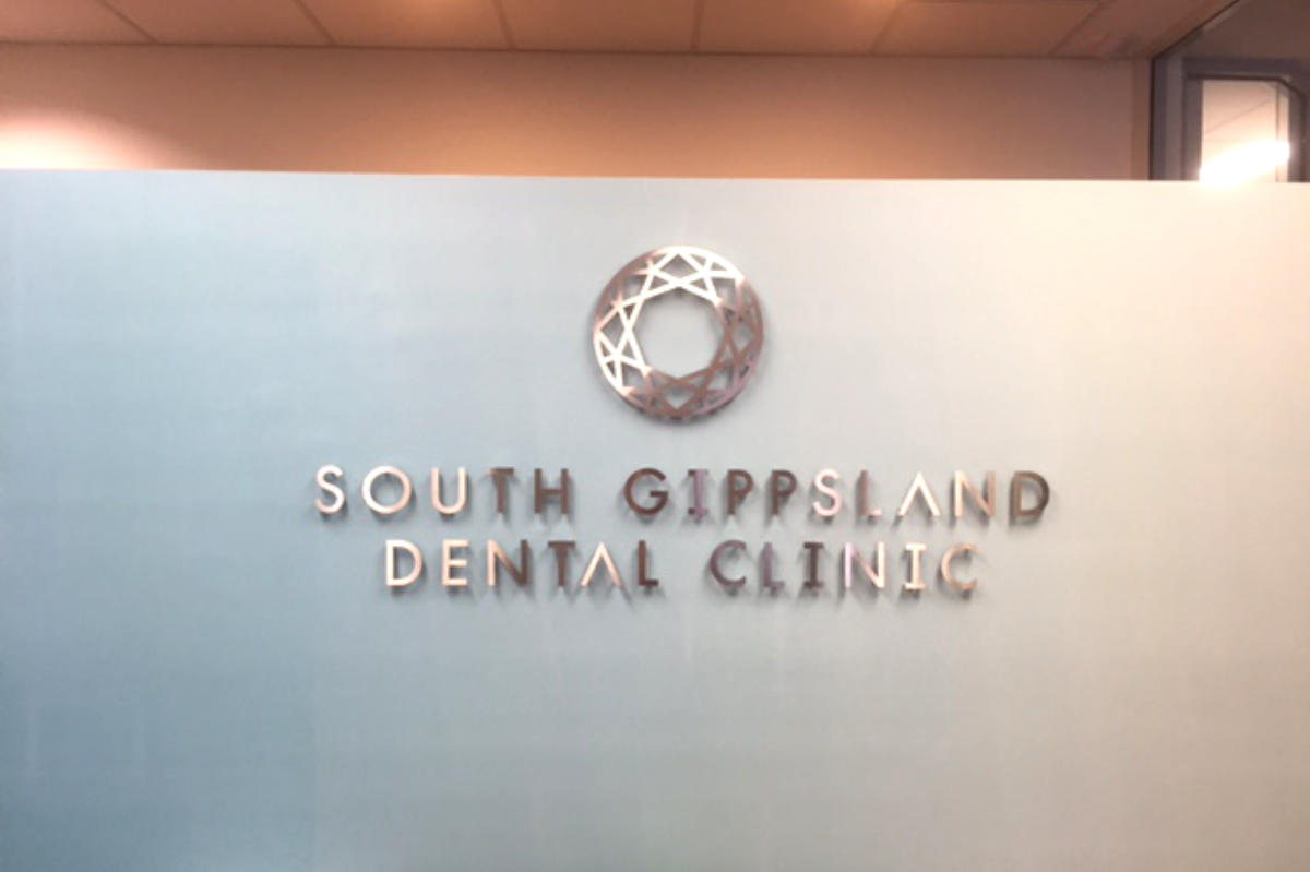 South Gippsland Dental Clinic reception sign by Signspec Signs