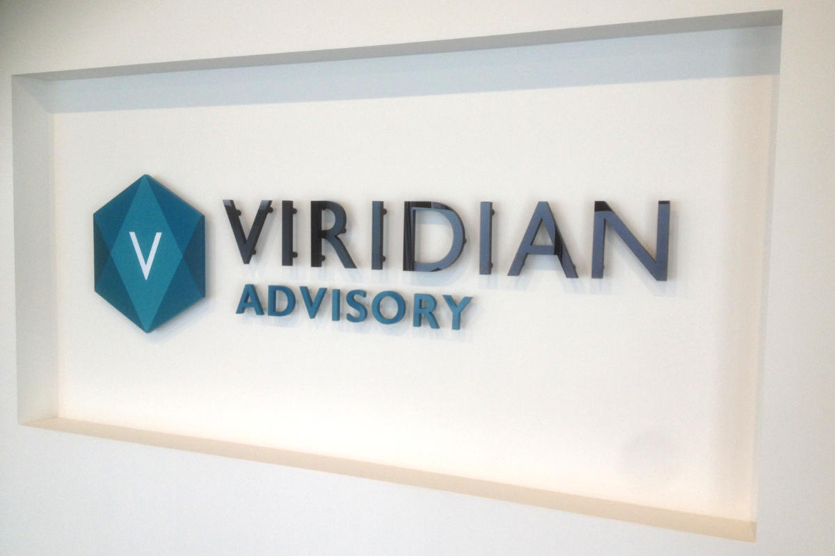 Reception Sign for Viridian Advisory