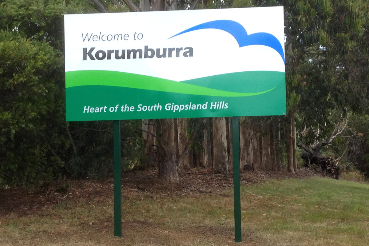 Korumburra town roadside sign