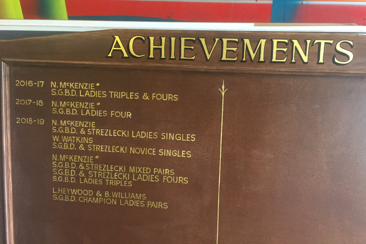 Bowling achievements hand-painted board