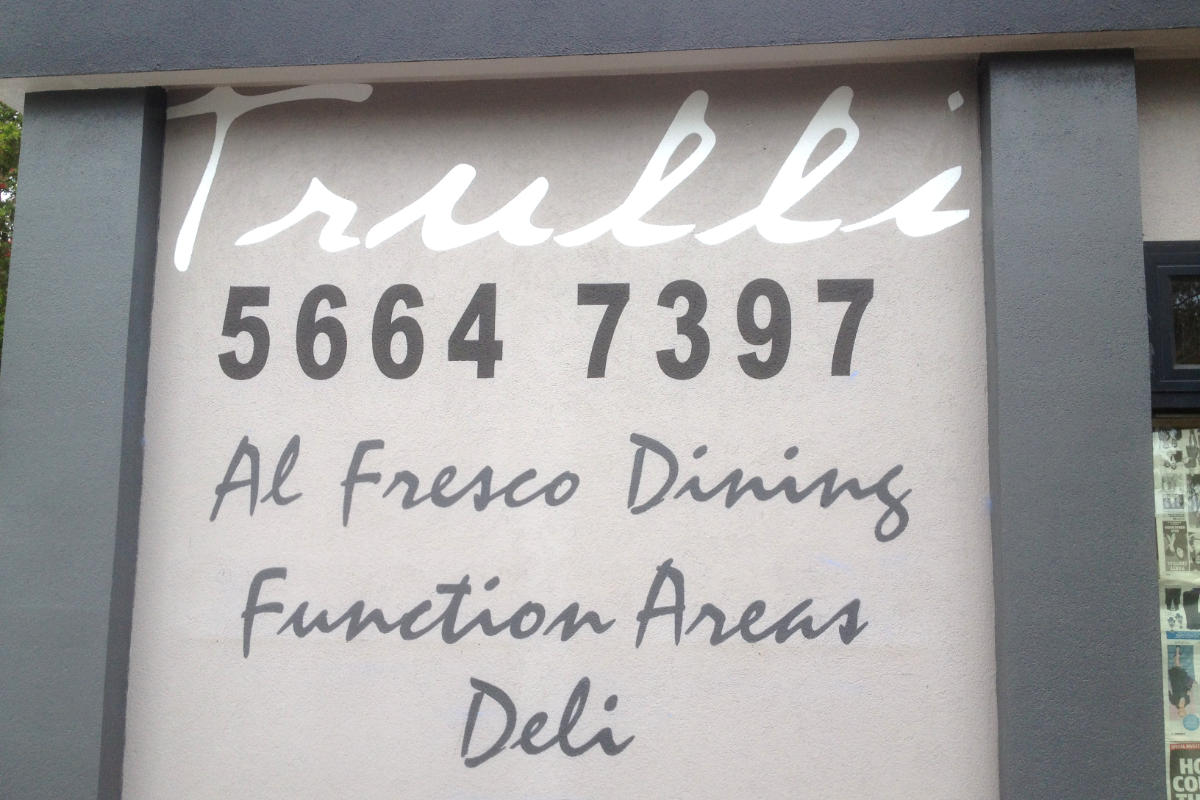 Traditional sign writing for pizza restaurant