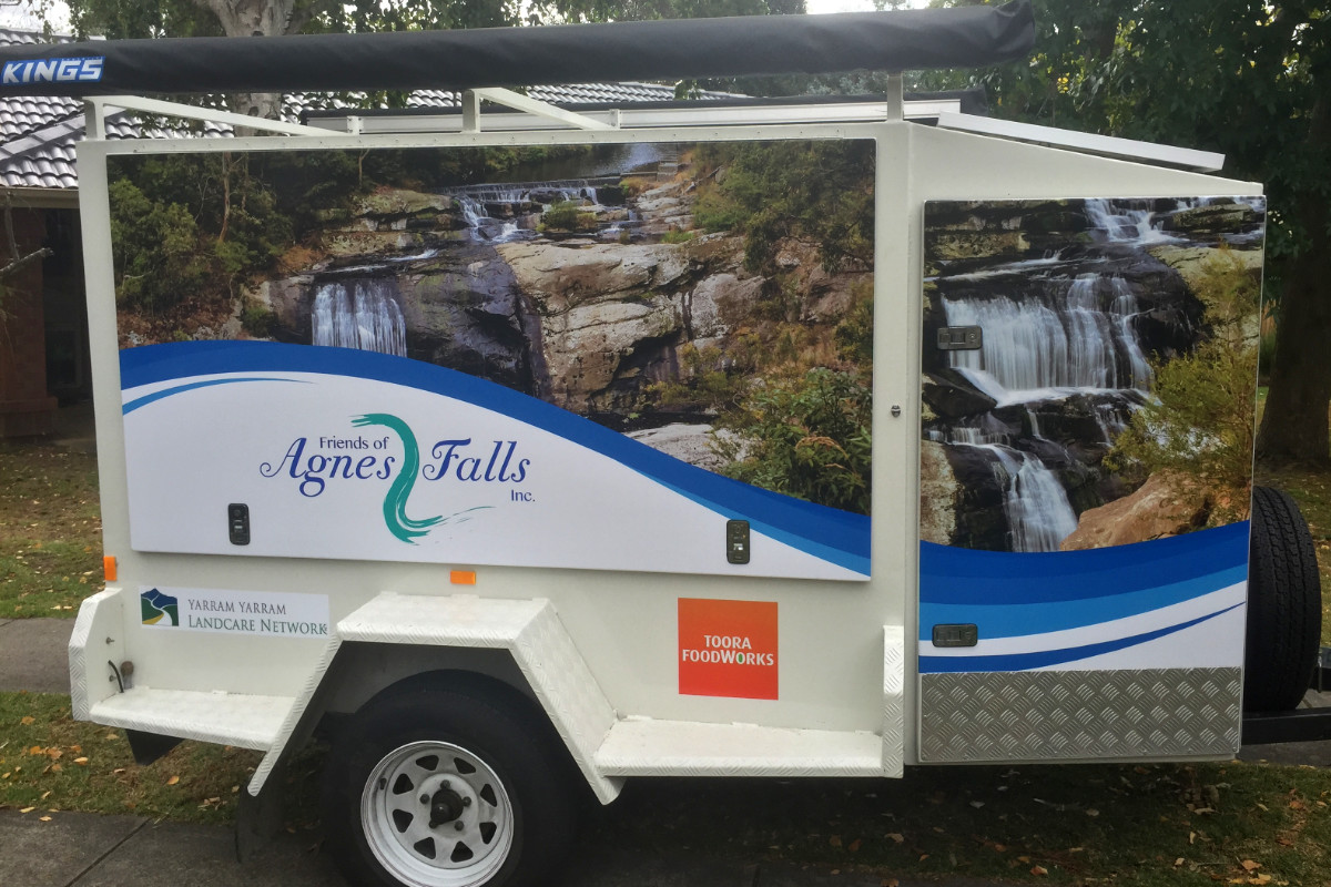Agnes Falls trailer signage by Signspec