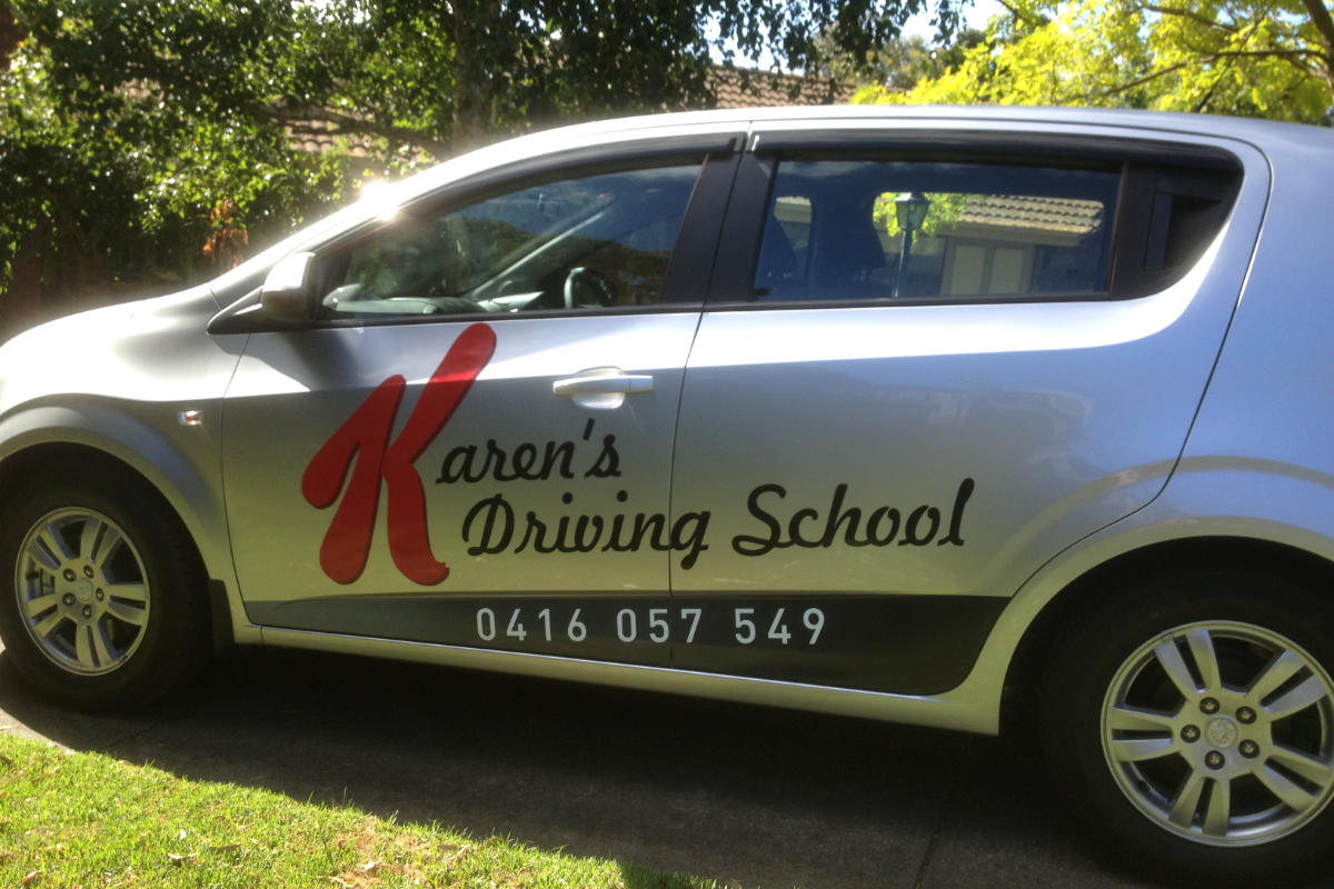 Car wrap signage for Karens Driving School
